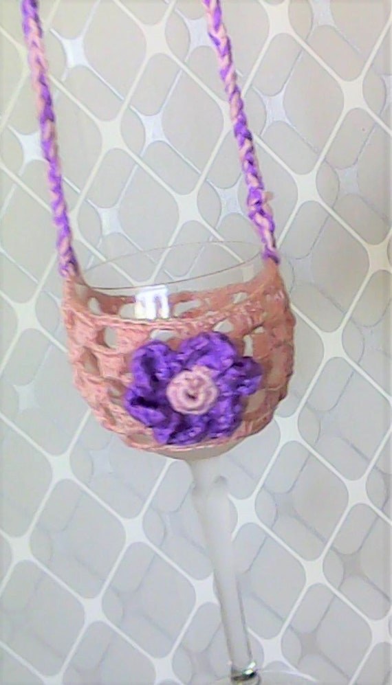 Mother's Day gift crocheted wine glass Necklace