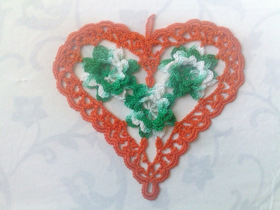 Thanksgiving Mother's Day Gift Colorful Hearts, Colorful Valentines Day Heart in Orange and Green White 3D Crochet Flowers
