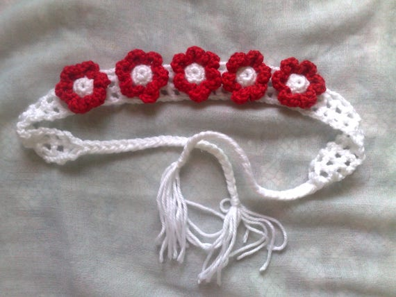 Headband crochet, hairband crochet, crochet kids headband with flowers