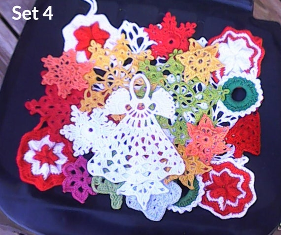 Quantity 30 hand crocheted various doily mixed snowflake ornaments country wedding Christmas ornaments cotton coasters