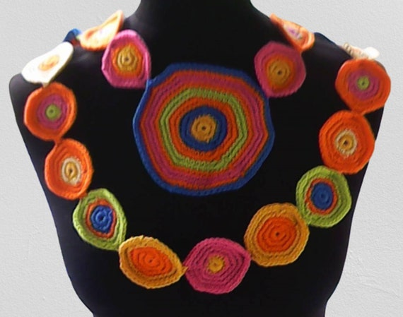 Drop necklace hung, Gorgeous scarf decorated with colorful circles in boho hippie style