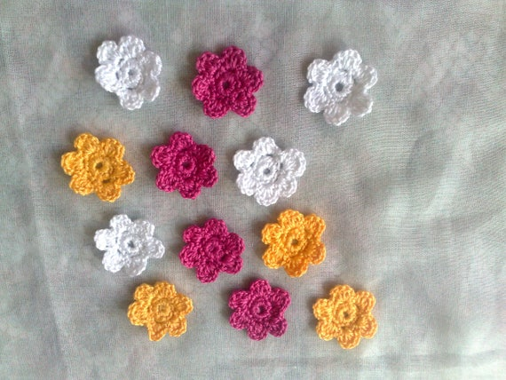 Colorful Crochet flowers crocheted Patch Flowers in the Colors white, yellow and dark pink