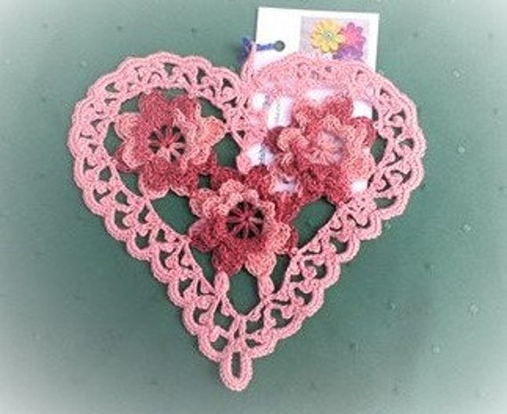 Old Rose crocheted heart cover with brown 3d crochet flowers