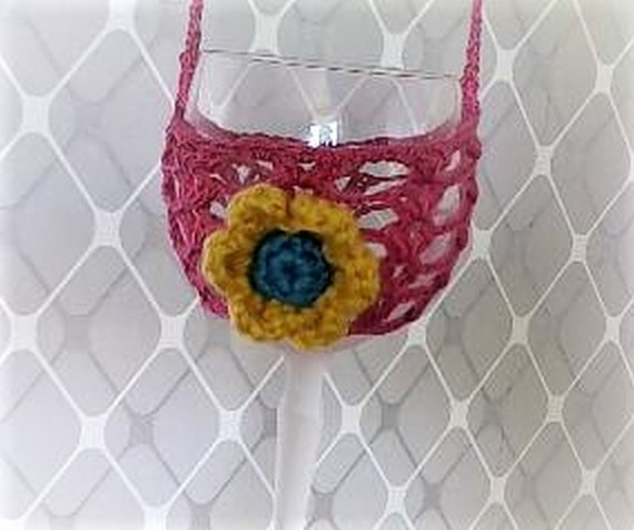 Wine Glass Holder, Necklace, Crochet, Wine Glass Holder, Party Gift,Garden Party, Bachelor Party,Host Gift,Wedding Gift