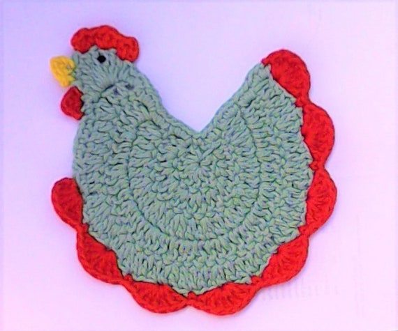 Mother's Day gift crochet chicken rooster beer lid kitchen décor green animal coasters inauguration party gift
