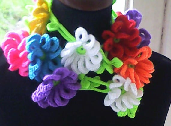 Crochet flower necklace with colorful flowers spring fashion skinny lasso scarf with large crochet flowers