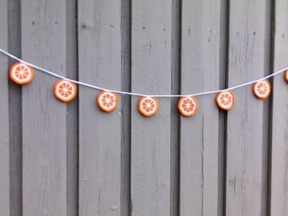 Apple garland crochet with 9 apple slices, crocheted orange fruit