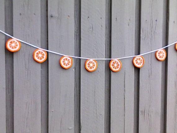 Apple garland crochet with 9 apple slices, crocheted orange fruit