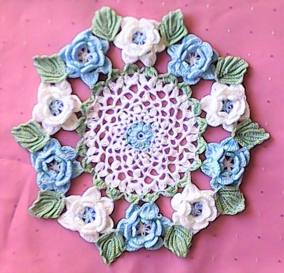 Vintage crochet crochet doily roses doily in blue housewarming gifts round doily Irish rose crochet doily with flowers and leaves