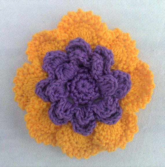 Large yellow purple crocheted flower applications