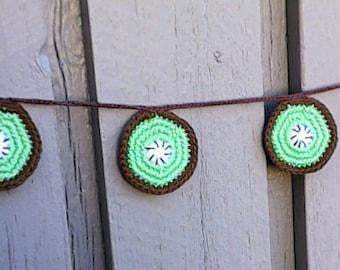 Kiwi Garland crochet, Fruit Garland, fruit bunting, Tropical Summer pool Party Kiwi Banner