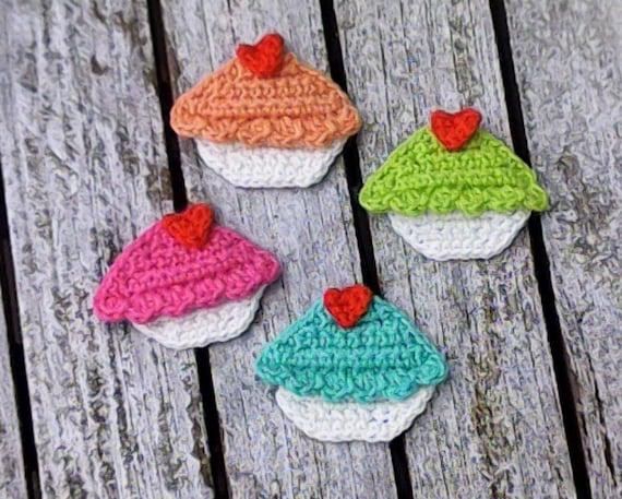 Muffin, cupcakes, crochet, crochet application, applique, patch, accessories, crochet application