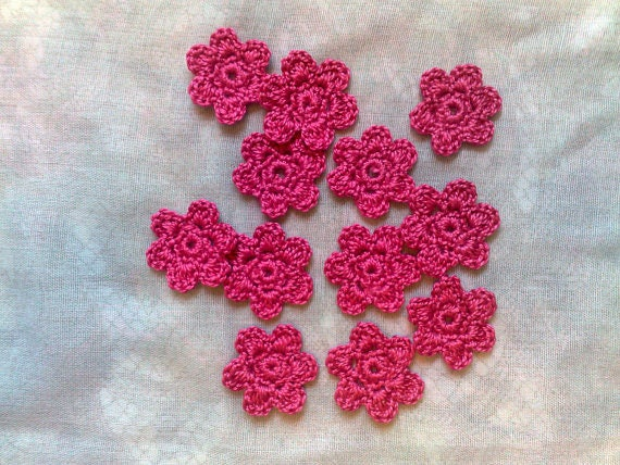 Crocheted Flowers Patches In dark pink, 12 Pieces