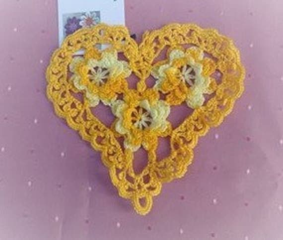 Thanksgiving Valentine's Day Crochet heart cover with light yellow and citrus yellow roses