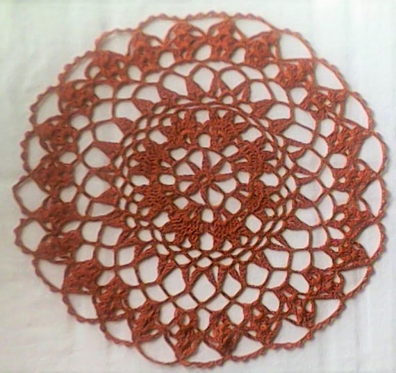 Handmade from Brown cotton crocheted Spitzrendeckchen 12 ""