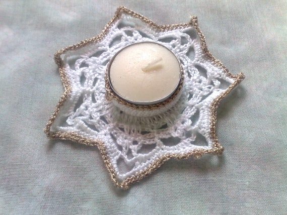 Tealight holder in white with border in gold, candle holder crocheted, gift, candlestick, decoration, Thanksgiving, room decoration