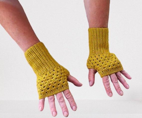 Olive green cotton gloves fingerless crochet women winter autumn accessories, crochet women gloves, gift for her birthday gift