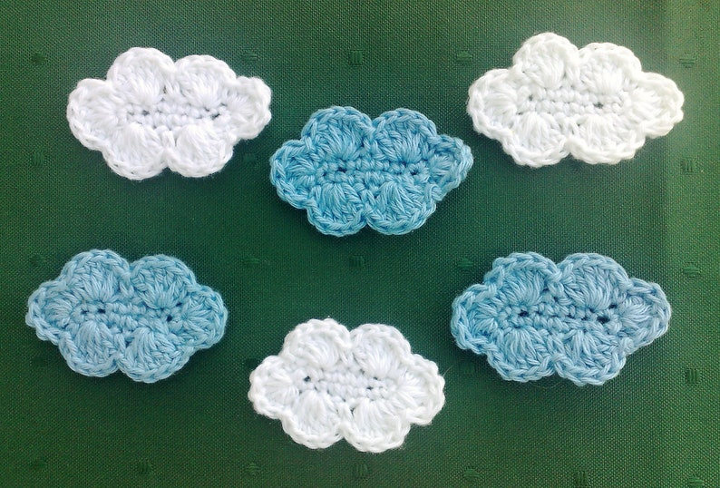 Clouds Applique crocheted in light blue and white image 1
