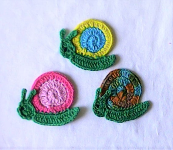 Snail, crocheted, crochet application, application, patch, accessories, crocheted application