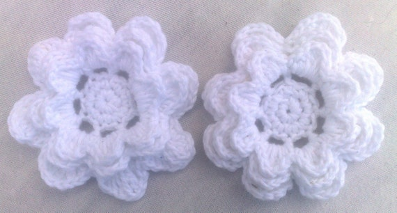 Crocheted Large flowers 3-inch cotton color white set with 2 flowers