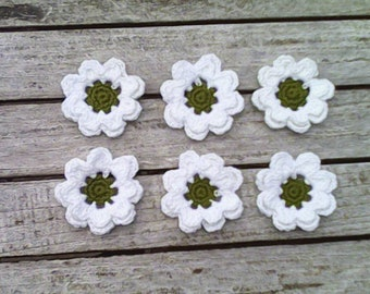 Crochet flower applications 6 STk. Handmade accessories for your crafts and scrapbooking. Crocheted floral decorations for handicrafts, 6 cm tall