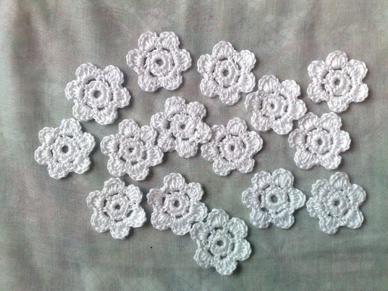 Flower white crochet flowers 15 small crochet flower image 1