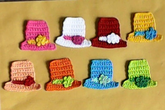 8 piece miniature hats with embellishment, crochet mini hat, handmade hats, dollhouse miniature, nursery embellishments