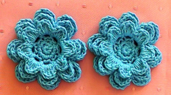 Crochet flowers 2 Applications 3 Inches in blue Cotton