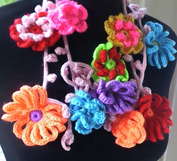 """Crochet lariat flower scarf very long 84"""", crochet necklace scarf, colorful floral scarf with 15 different crochet flowers"""