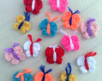 Small colorful butterflies crochet application crocheted in cotton, 14 pieces