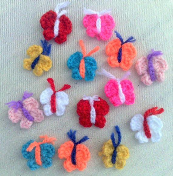 Small colorful butterflies crochet application in cotton crochet, 14 pieces