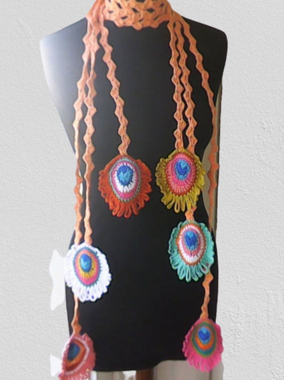 Peacock Feather Crochet, Crocheted Multi Color Lariat Scarf, Lariat Crochet, Jewelry Spring Scarf Length 79 inches
