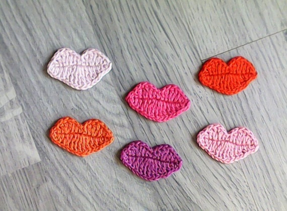 6 lip appliques, crochet lip appliques, cotton lip appliques,lip motifs,card making,scrapbooking,craft, sewing