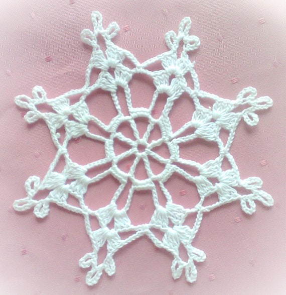 crocheted Snowflake Christmas Tree Hang 5.9 ""