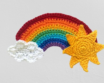 Rainbow applique with sun and cloud crocheted patch