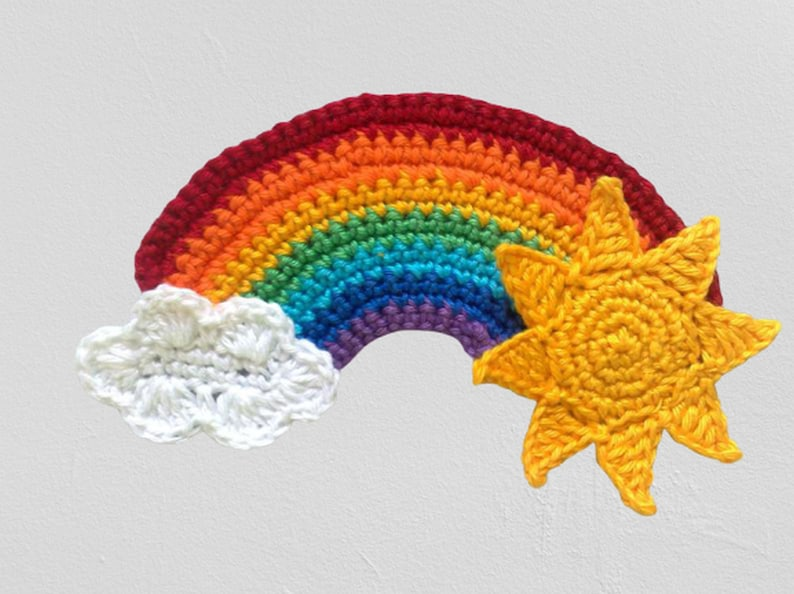 Rainbow applique with sun and cloud crocheted patch image 1