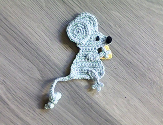 Crochet grey mouse 3D funny patch for embellishments and cardmaking