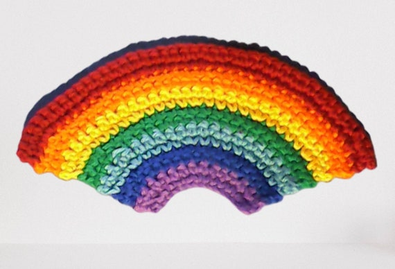 Rainbow applique crocheted patch