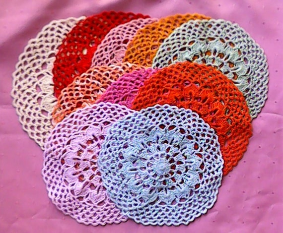 Vintage Crochet Small Crochet Doily, Various Colors to Choose from, 8""