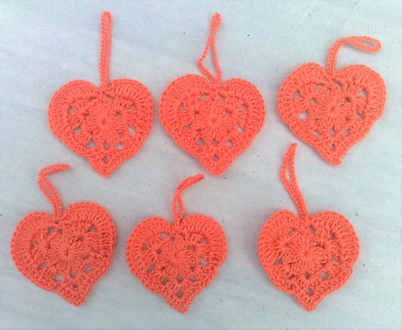 Heart crochet for a Valentine's Day gift for a gift pendant in orange cotton