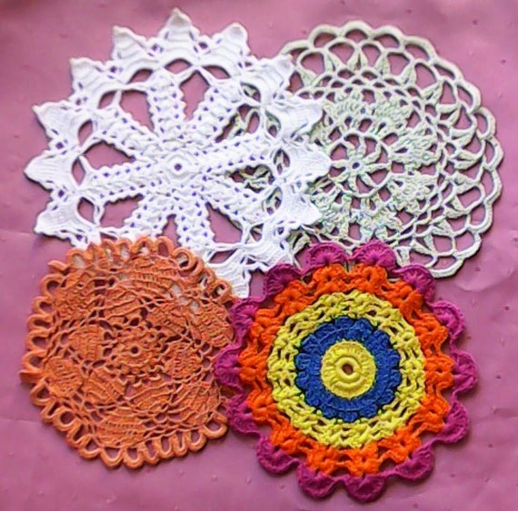 Different Colored small Crocheted covers for Dream catchers or Decoration to crochet Cotton 16.5 to 22 cm