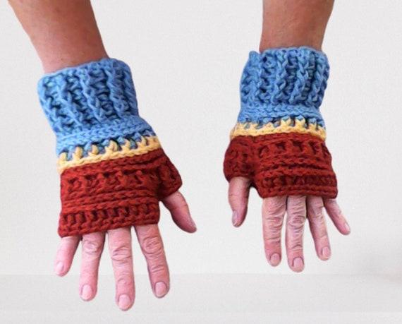 Fingerless Gloves Winter Arm warmer blue brown crochet gloves hand crocheted gloves women wrist boho gift for her
