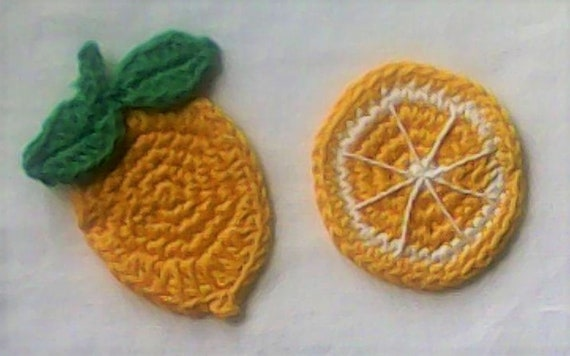 Yellow Lemon Fruit Application 2 Piece Crochet Lemon Sewing Accessories Scrapbook Lemon Fruit Patch