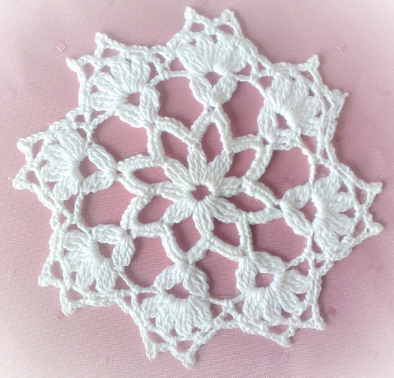Crochet snow crystal for the Christmas tree 5.3""