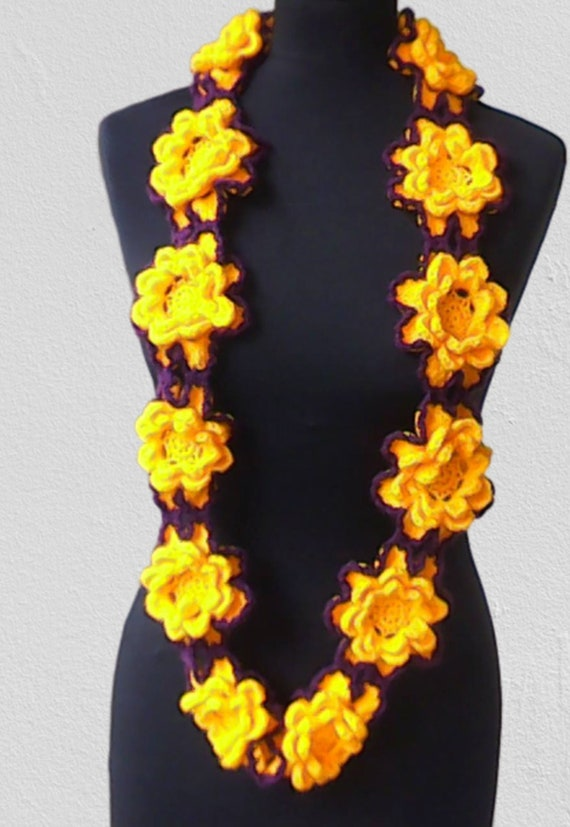 Crochet infinity scarf, yellow flower scarf, long necklace, floral floral jewelry, yellow bordeau, women accessories