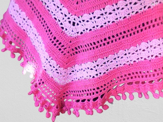 Girls fashion crochet pink scarf with pom pom, crochet triangle cloth