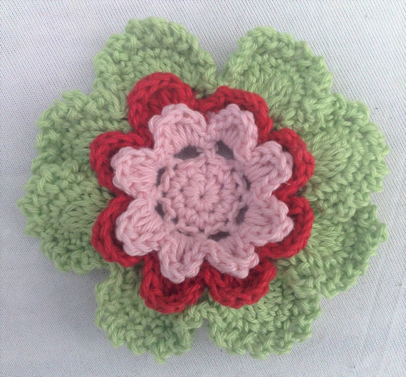 Hand crocheted flower in colors light green, red and light pink size 3.5 inches