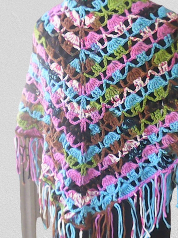 Crochet hippie scarf colorful with long fringes, multi color scarf with fringes, Lacy summer scarf with fringes, BoHo style fringe scarf