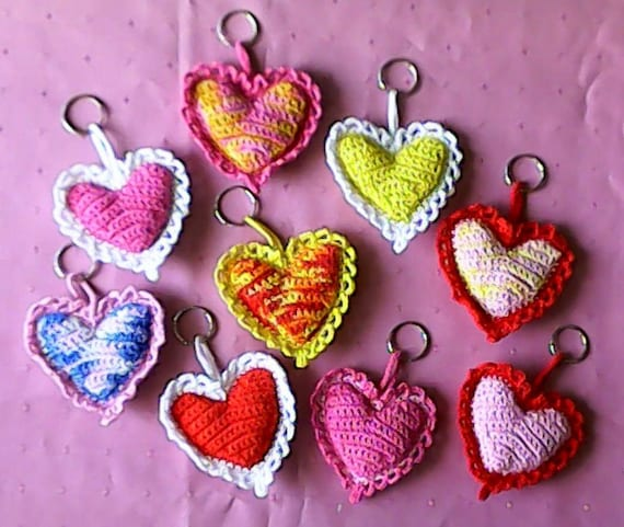 Organic lavender heart crocheted keychain, gift love, crochet heart pendant bag, gift for Valentine's Day, gift for you