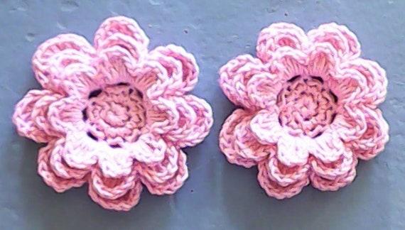 Crochet Flowers Pink 3-inch embellishment cotton